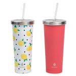 2 pk Chilly Tumbler Lemons and Fuchsia - Manna Hydration