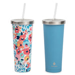 2 pk Chilly Tumbler Cheetah Floral and Blue - Manna Hydration