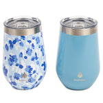 2 pk 12 oz Wine Tumbler Blue Floral - Manna Hydration