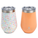 2 pk 12 oz  Wine Tumbler Pastel Leaves - Manna Hydration