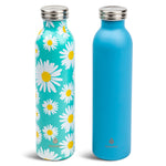 2 pk 20 oz  Retro Bottle  Blue Daisy Floral - Manna Hydration