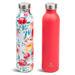 2 pk 20 oz Retro Bottle Floral Coral - Manna Hydration