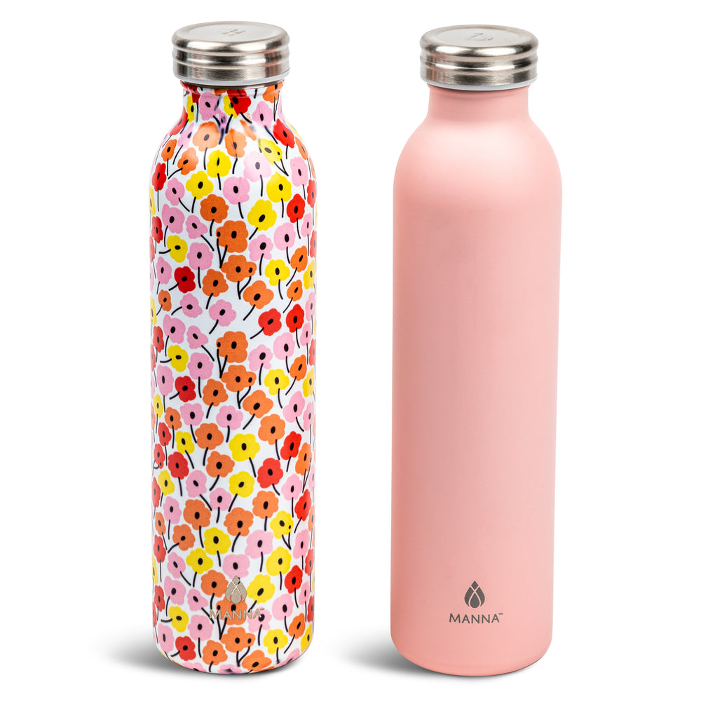 2 pk 20 oz Retro Bottle Pink Floral - Manna Hydration