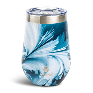 Load image into Gallery viewer, 12 oz  Wine Tumbler Teal Ink Spill