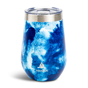 Load image into Gallery viewer, 12 oz  Wine Tumbler Navy Swirl - Manna Hydration