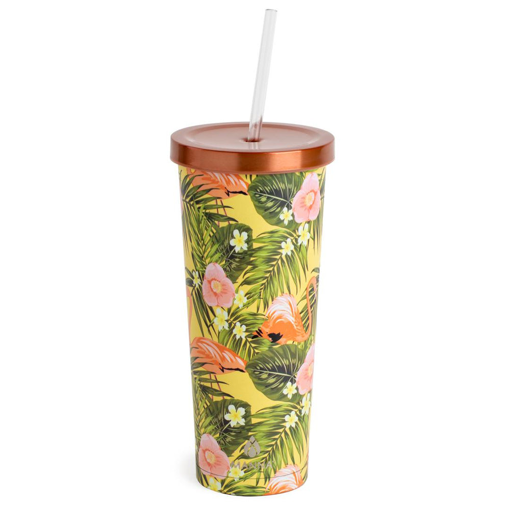 24 oz Chilly Tumbler - Flamingo Flowers - Manna Hydration