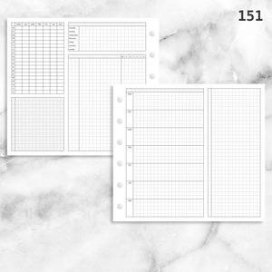 151: Grid Lovers Foldout Weekly w/ Time Blocking, Daily Habit Tracking, Wo1P, Tasks, Notes