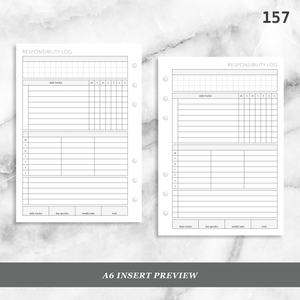 157: Weekly Responsibility Log Children Kids Chores Allowance Tracker Wo1P
