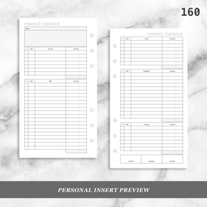 160: Finance Overview w/ Income Budget Loan Expenses Bills Savings Monthly