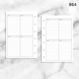 064: Vertical Lined Weekly Wo2P