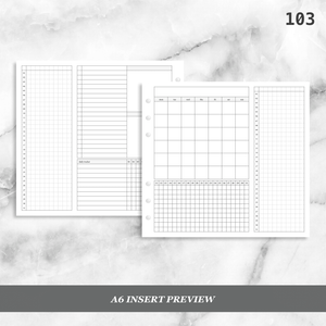 103: Monthly Overview Foldout w/ Tracker Mo2P