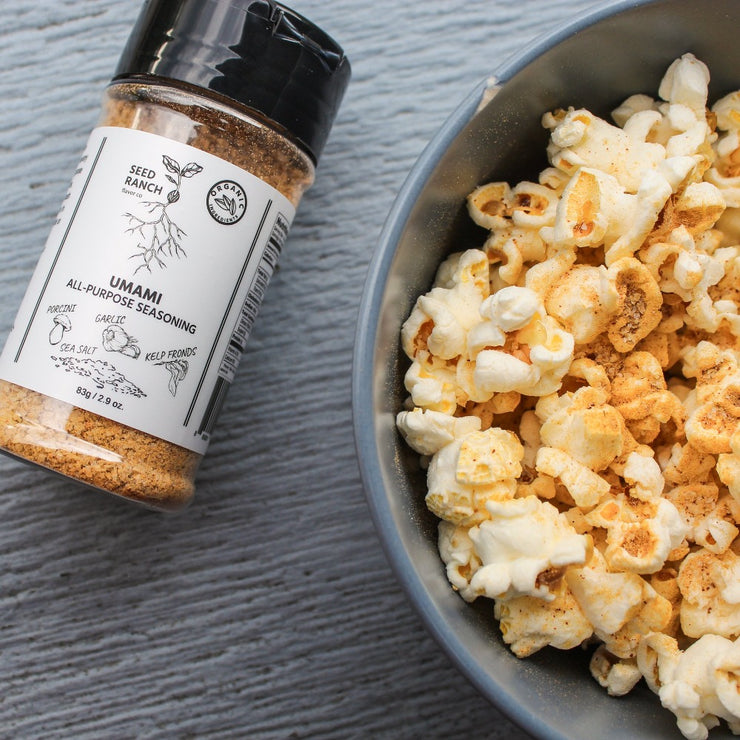 Umami seasoning on popcorn