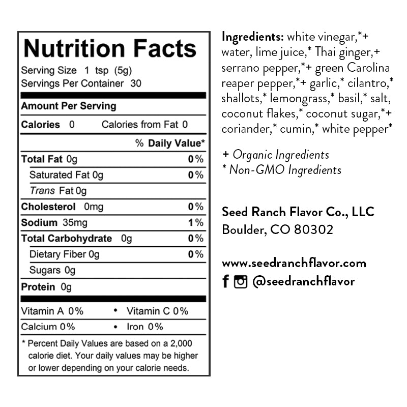 Hot Thai Nutrition Facts and Ingredients