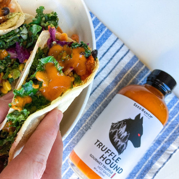 Truffle hound hot sauce on tacos