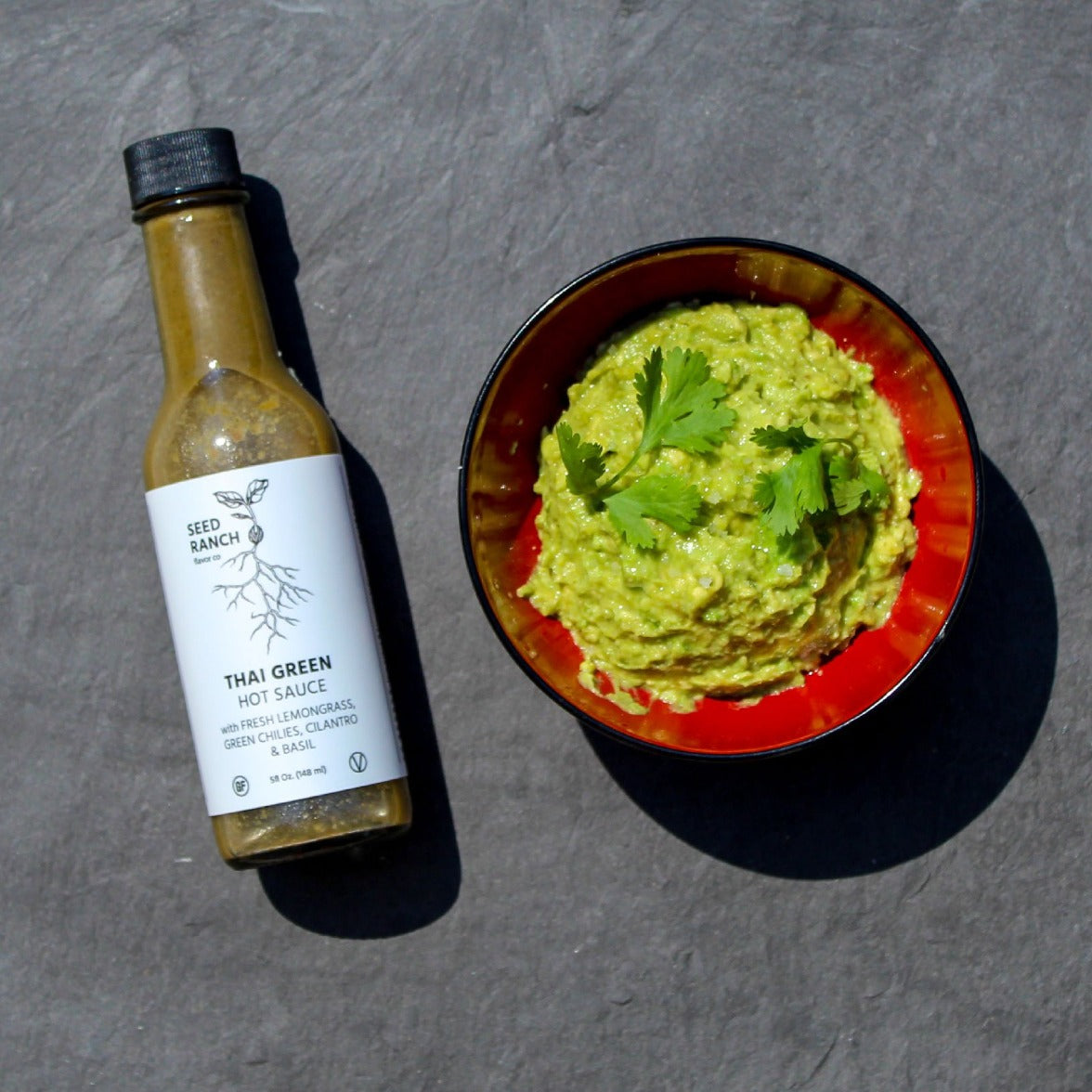 Thai green hot sauce mixed with guacamole