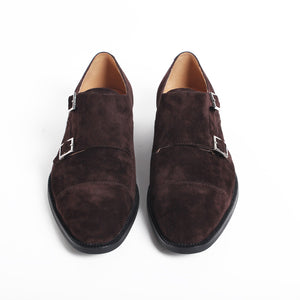 Chocolate Suede Captoe Double Monk