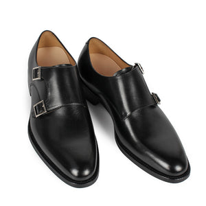 Black Calf Double Monk Plain Toe
