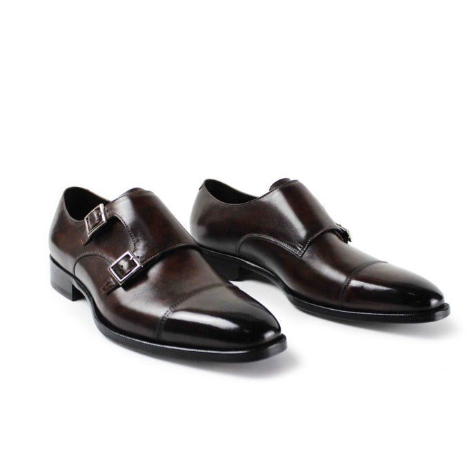 Burnished Calf Double Monk Cap Toe