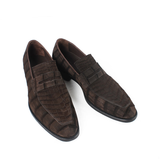 Crocodile Suede Loafers