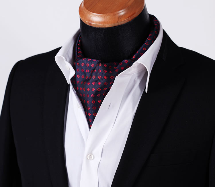 Navy/Red Foulard Silk Cravat Set