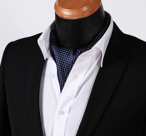 Navy Polka Dot Silk Cravat Set