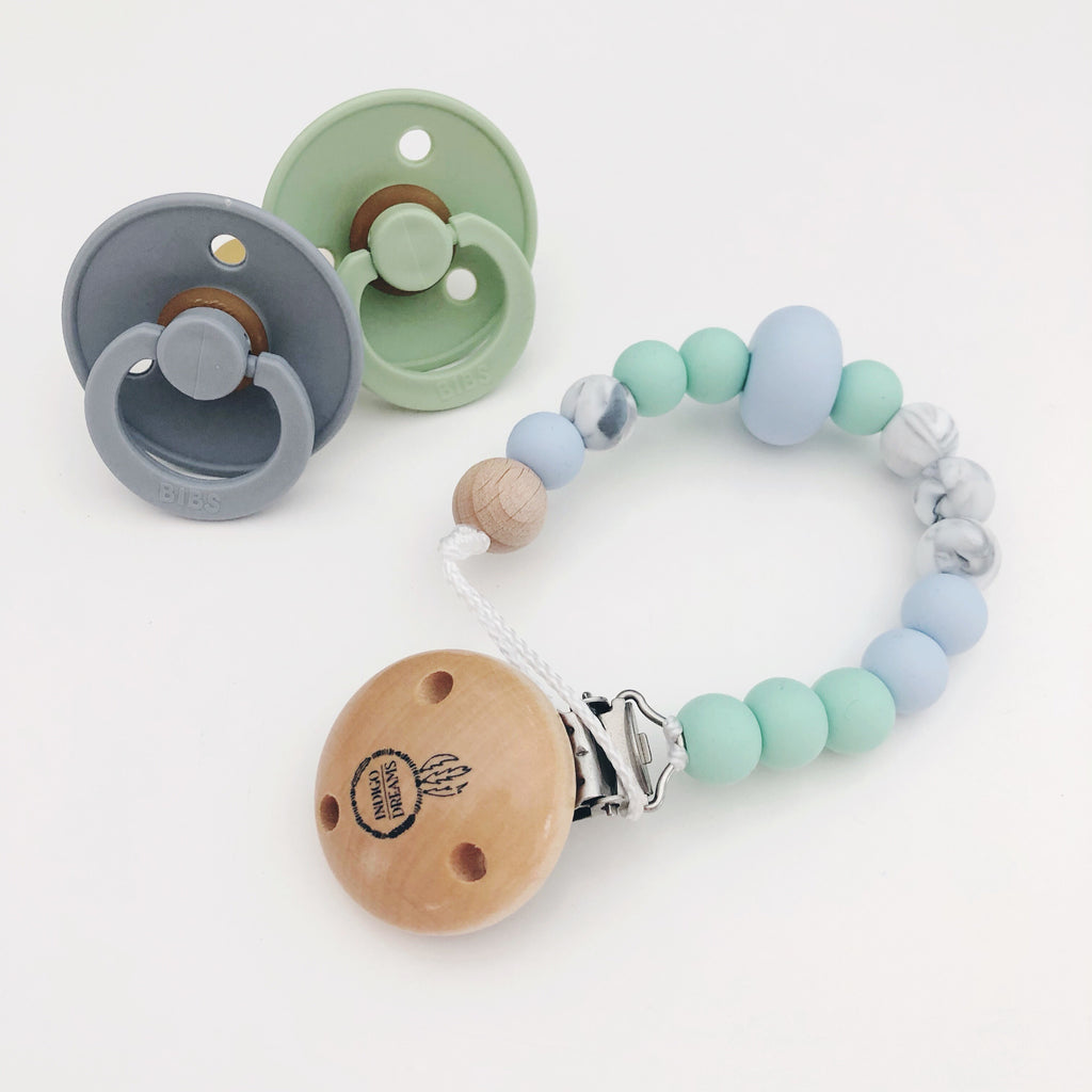 'Pastel Blue Mint and Marble' Silicone Dummy Clip