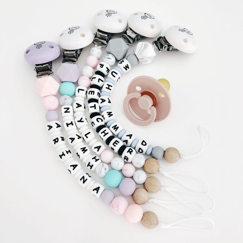 Mini Letter Personalised Silicone Dummy Clip