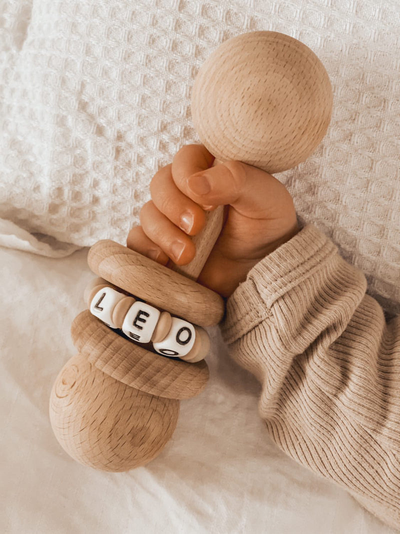Wooden Keepsake Rattle Personalised