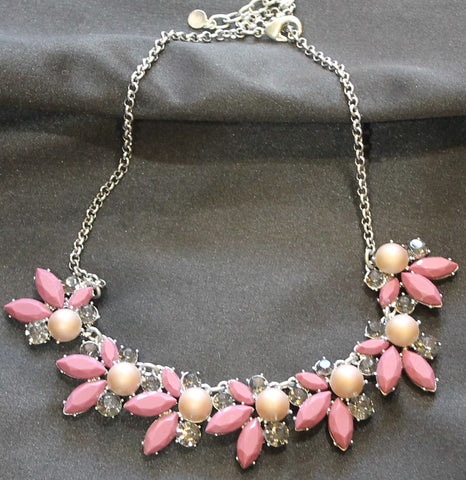 Strawberry and Cream stones with silver tone necklace.