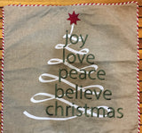 Natural linen with Christmas swirl