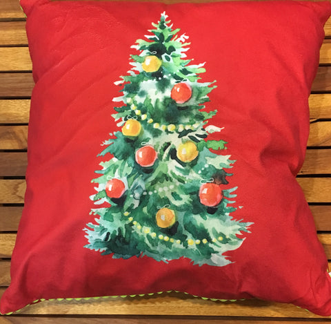 Red light up pillow with xmas tree
