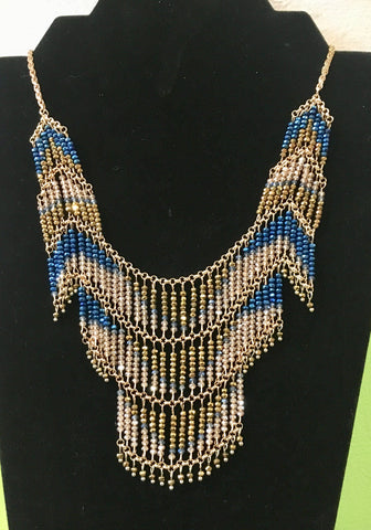 Gold and Royal blue beaded bib necklace.
