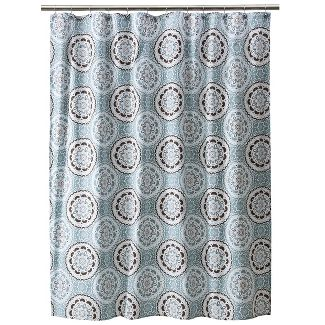 Shower curtain- Lite blue medallion