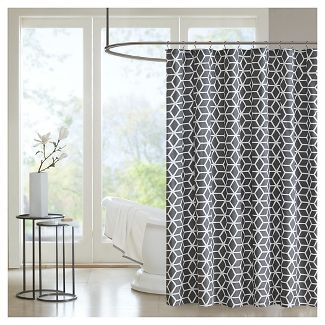 Shower curtains, black and white diamonds