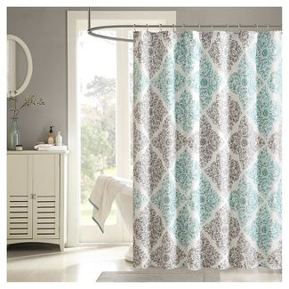 Shower curtain, light blue and grey arbor.