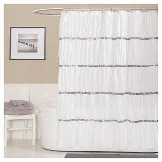 Shower curtain, Aria Arabelle.  White and silver