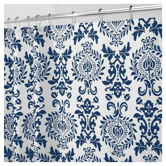 Shower curtain, Navy blue damask.
