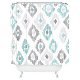 Shower curtain -teal green and grey diamonds