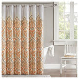 Shower curtain: Orange and grey- nami