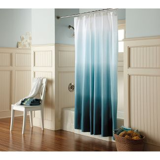 Shower curtain.  Blue ombre