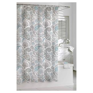 Shower curtain, light blue and grey paisley