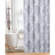Shower curtain. Grey and White diamond floral