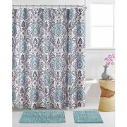 Shower curtain. Blue and grey