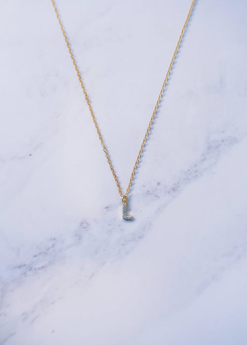 Tiny Crystal Initial Necklace