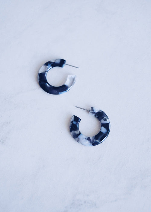 Mini Black Marble Hoops