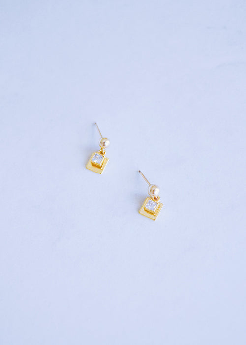 Squared Crystal Earrings