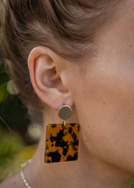 Roma Squared Gold Studs
