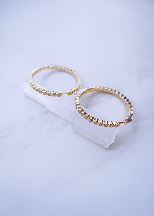Crystal Dot Hoops