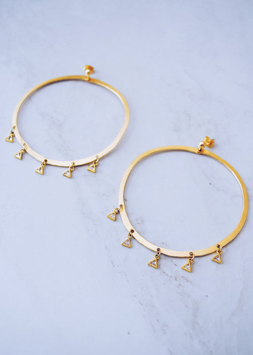 Fringe Crystal Hoops