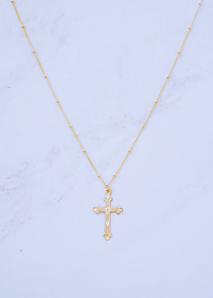 Gold Diamante Cross Necklace